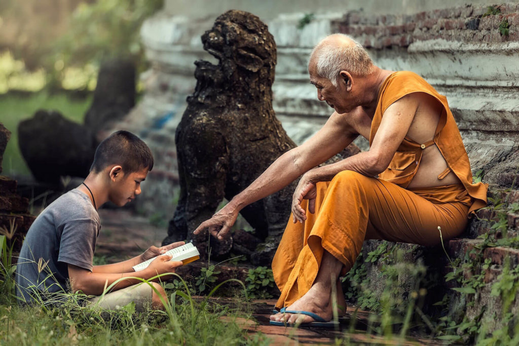 Buddhist teaching younger student