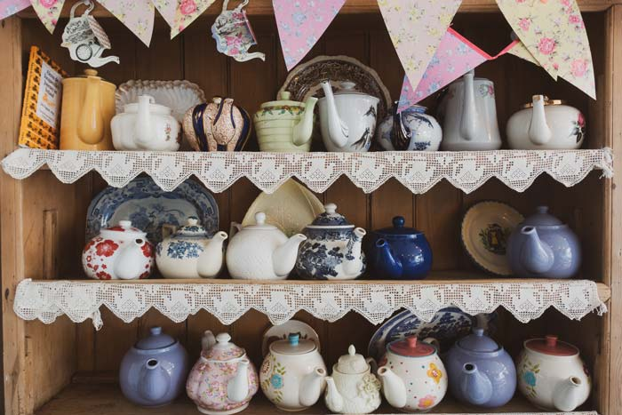 collection of vintage teapots