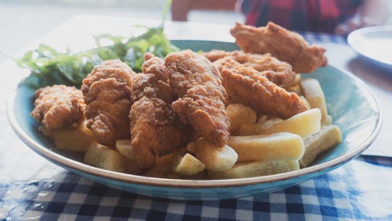 chicken goujons and chips