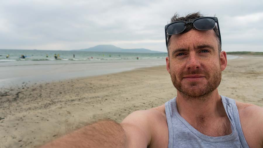 Surfing at Carrowniskey Beach, Mayo